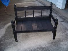 "My husband's new project. Twin bed frame bench in ""distressed"" black. Love it!"