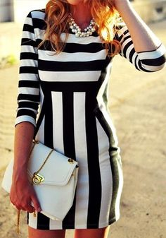 Stripe Bodycon Dress  The striping in this dress looks SO slimming!  Would love this with hot pink heels accessories for summer