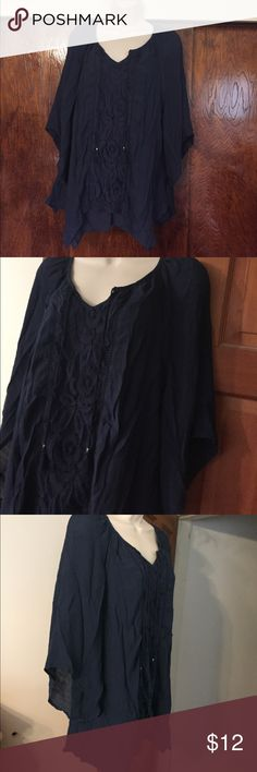 """Dark Blue Peasant Lace Trim Blouse Wide sleeves kerchief layered hem rope tassel details Loose fit Bust 41"""" Length 27"""" Style & Co Tops Blouses"""