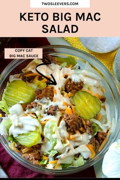 Keto Big Mac Salad If you're keto and missing Big Macs, have I got the perfect Big Mac Salad and Big Mac Sauce recipe for you! Super easy and let me tell you–it tastes EXACTLY like the real thing. Salad Recipes Low Carb, Healthy Recipes, Beef Recipes, Healthy Hamburger Recipes, Barbecue Recipes, Smoothie Recipes, Hamburger Salad Recipe, Keto Fastfood, Big Mac Sauce Recipe