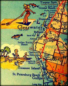 color map photograph CLEARWATER DUNEDIN retro Florida print 11x14  1960s aqua turquoise yellow wall art coastal decor picture