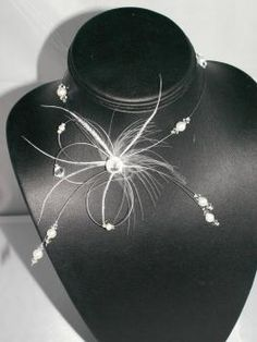 Collier Mariée Perles Cristal Plume