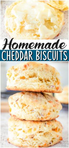 Buttery Biscuits made with butter & cheddar cheese, flavored with onion & baked to golden perfection! Soft, fluffy Cheddar Biscuit recipe perfect with just about any dinner! #biscuits #cheddar #homemade #baking #bread #easyrecipe from BUTTER WITH A SIDE OF BREAD Savory Bread Recipe, Best Bread Recipe, Biscuit Recipe, Bread Recipes, Cheddar Biscuits, Buttery Biscuits, Cheddar Cheese, Best Comfort Food, Comfort Foods