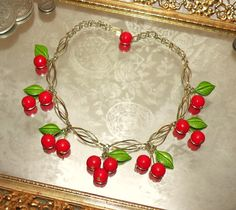 Vintage 1940's Celluloid Necklace - CHERRIES JUBILEE - Summer Pin Up Girl Fruit Estate Item