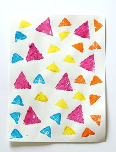 Learning Shapes Activity: Sponge Stamped Triangle Collage~ BuggyandBuddy.com