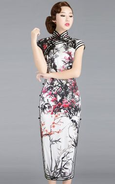 Chinese black and white watercolor painting cherry blossom qipao cheongsam dress | www.ModernQipao.com