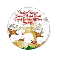 Christmas Santa's Reindeer Festive Holiday Classic Round Sticker - christmas stickers xmas eve custom holiday merry christmas