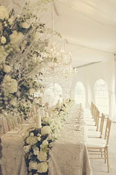 All white tent reception.