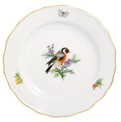 """Teller, Form """"Neuer Ausschnitt"""", Vintage Vogelmalerei, Motiv - Stieglitz, Goldrand, ø 20 cm"""