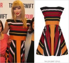 RED Tour Meet and Greet | Fargo, ND | September 6, 2013 Thanks Lily! Alice + Olivia 'Fila Flare Box Pleat Dress' - $731.85 You can track the rest of Taylor's Club RED outfits here.