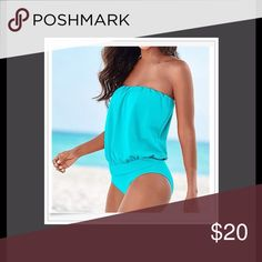 "H.P. Tube Top Style One Piece NWOTS. elastic around the top. Full bottom cover. No padding or liner on the inside of suit. BUST 34.6""- 48.8"". LENGHT-25.5"". Polyester material. SKY BLUE IN COLOR. Boutique  Swim One Pieces"