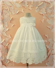 🌼👗Beautiful white cotton dress with flowers and embroidered appliques, ideal … Baptism Dress, Little Girl Dresses, Flower Dresses, Embroidered Flowers, Cotton Dresses, White Cotton, Frocks, Baby Dress, Kids Fashion