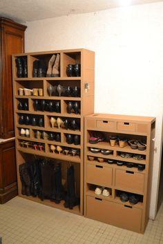 Meuble en carton rangement chaussures de femme www.mobilier-carton-sur-mesure.com
