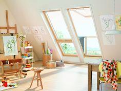Attic Art Studio Ideas Large Windows Natural Light Art Sudio Furniture Ideas