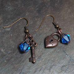 Steampunk Jewelry  Earrings  Key and Heart by earthfirestudios