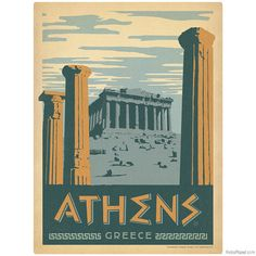 Travel Poster Style Athens Greece Wall Decal