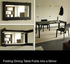Fold away table with mirror on the back. Space saving furniture at its best.