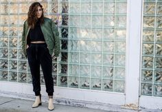 The perfect combination of comfort & style | velvet joggers + bomber jacket + fishnets