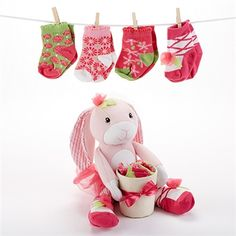 Your little one is going to love this special Hannah Hop-in-Socks Plush Baby Bunny Gift Set by Baby Aspen. An adorable plush bunny friend comes bearing 4 pairs of warm and cozy socks. Twin Baby Gifts, Cute Baby Gifts, Baby Girl Hair Bows, Baby Girl Socks, Baby Aspen, Bunny Plush, Personalized Baby Gifts, Baby Bunnies, Twin Babies