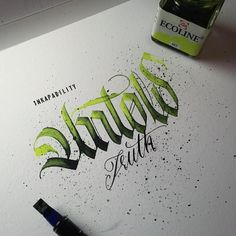 """190 Likes, 2 Comments - @1nkapability on Instagram: """"#calligraphy #calligraffiti #handmade #handstyle #handwriting #lettering #ink #addicted #colors…"""""""
