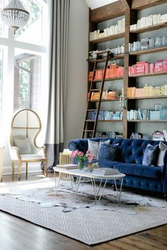 I'm loving the jewel tone tufted sofa