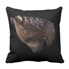 American Brown Grizzly Bear Animal Nature Wildlife Throw Pillow - home decor design art diy cyo custom