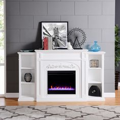 White Electric Fireplace, Fireplace Bookcase, Basement Fireplace, Mdf Frame, Wall Outlets, Living Spaces, Living Area, Living Room, Transitional Style