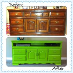 Our old dresser converted to a TV stand. Love how it turned out :)