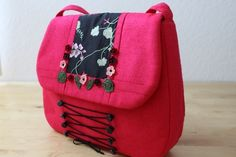 Bag to go with your Dirndl made of silk and small crochet flowers