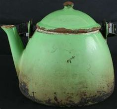 old tea kettle, blue green, rusted