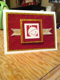 Stampin Up: Cherry Cobbler paper and ink, stamp from holiday blocks set.