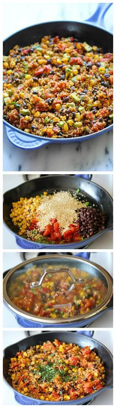 One Pan Mexican Quinoa - Wonderfully light, healthy and nutritious. And it's so easy to make - even the quinoa is cooked right in the pan! One pot Mexican quinoa Mexican Food Recipes, Whole Food Recipes, Vegetarian Recipes, Cooking Recipes, Healthy Recipes, Quinoa Recipes Lunch, Recipes Dinner, Mexican Bowl Recipe, Heathy Lunch Ideas