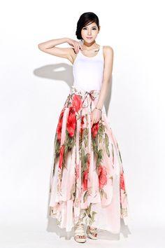 Flower maxi skirt chiffon skirt women skirt C377 by YL1dress