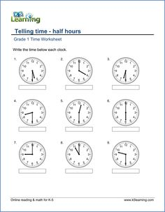 Grade 1 Telling Time worksheet  free worksheets