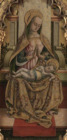 Carlo e Vittore Crivelli - Madonna adorante il Bambino, dettaglio Polittico di Monte San Martino - 1477-1480 ca. - Chiesa di San Martino vescovo, Monte San Martino, in provincia di Macerata.
