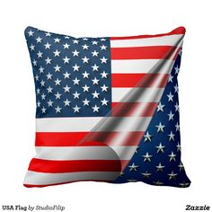 USA Flag Throw Pillow   America's Birthday Party is just around the corner! Celebrate this 4th of July with cool & amazing patriotic gifts!