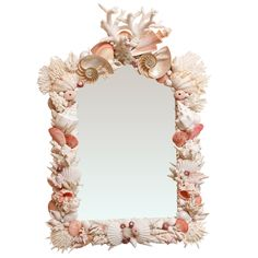 Custom White Shell Mirror with Splashes of Lady Pompadour Pink : On Antique Row - West Palm Beach - Florida
