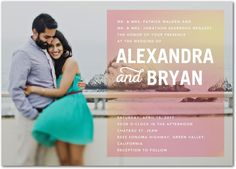 Blissful Affection - Shimmer Wedding Invitations in Posies or Creamsicle | Pinkerton Design