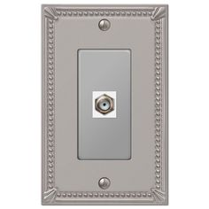 Imperial Bead Brushed Nickel Cast - 1 Cable Jack Wallplate