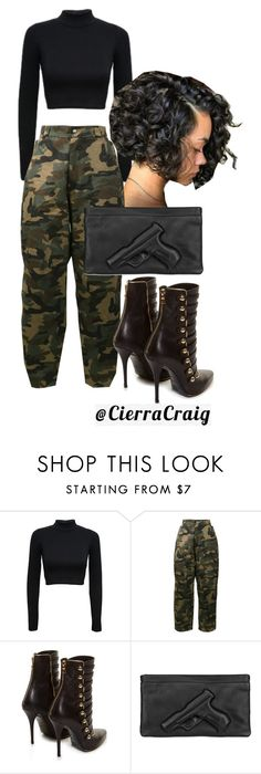 """""""Military/ Kim Possible Vibes"""" by cierracraig ❤ liked on Polyvore featuring WearAll, Hood by Air, Balmain, Vlieger & Vandam, black, croptop, camo, balmain and cargo"""