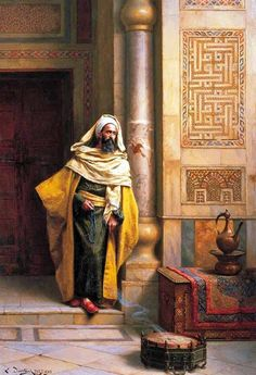 The Philosopher by Ludwig Deutsch (Vienna, 1855 - Paris, Austrian born Orientalist painter who settled in Paris. Empire Ottoman, Middle Eastern Art, Arabian Art, Islamic Paintings, Academic Art, Pics Art, Ludwig, Arabian Nights, Art Plastique
