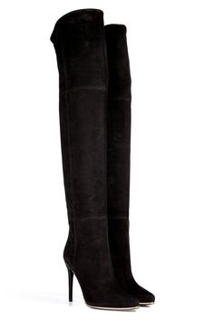 Over- The-Knee Balmain Suede Over-The-Knee Boots, $2,095; stylebop.com   Read more: 80 Leather Boots for Fall 2013 - Women's Designer Fall Boot Guide - ELLE  Follow us: @ElleMagazine on Twitter   ellemagazine on Facebook  Visit us at ELLE.com