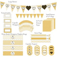 Bridal Shower Decorations | Gold | Wedding Shower Decorations | Includes Banner and Much More | PDF Instant Download File on Etsy, $15.00