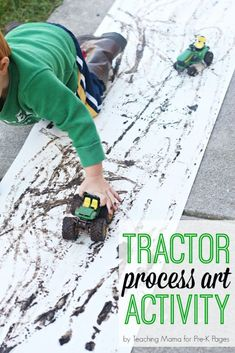 Tractor Mud Painting Process Art Activity Pre K Pages - This Tractor Mud Painting Process Art Project Uses Mud To Create Tracks For A Harvest Or Farm Theme In Your Preschool Pre K Or Kindergarten Classroom Eyfs Activities, Animal Activities, Outdoor Preschool Activities, Toddler Activities, Farm Animals Preschool, Preschool Themes, Reptiles Preschool, Process Art, Painting Process