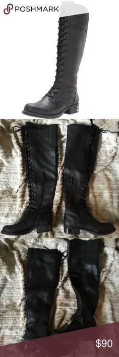 Sam Edelman Leather Thigh High Combat Boots Sam Edelman Thigh High Lace Up Leather Combat Military Boots✨  Zippers on sides for slipping boots easily on and off.  Worn only a handful of times. Some light scuffing on the metal hardware on the back heel of the boots, hardly noticeable (see photos). Otherwise in great condition!   Super cute winter boots❤️ Circus by Sam Edelman Shoes Over the Knee Boots