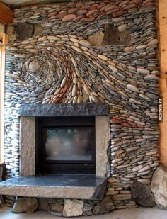Beautiful Stone Fireplace...I think this would drive me crazy after a while though lol