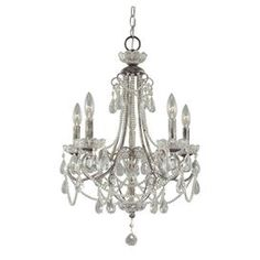 "Mini chandelier with beaded accents and scrollwork detail.     Product: Mini chandelierConstruction Material: Metal and glassColor: Silver and clearAccommodates: (5) 60 Watt candelabra base bulbs - not includedDimensions: 25.5"" H x 18.25"" Diameter"