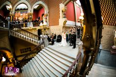 Ceremony on the Grand Staircase | Pennsylvania Academy of Fine Arts Wedding for Holly & Gerry | JPG Photography