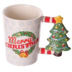 Christmas Ceramic Mug with Xmas Tree Shaped Handle by getgiftideas