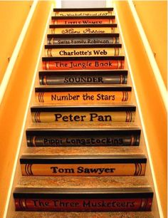 Paint your favourite book titles on your stairs